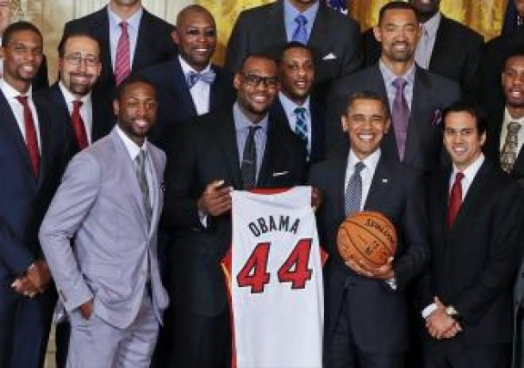 Barack Obama, LeBron James, Dwayne Wade