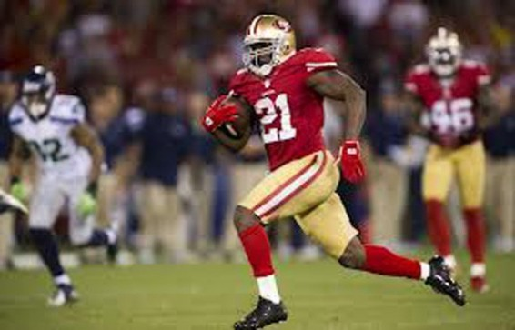 Frank Gore 153 rsuhing yards