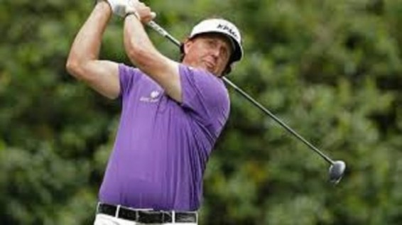 Phil Mickelson the leader in the club house at the wells fargo championship